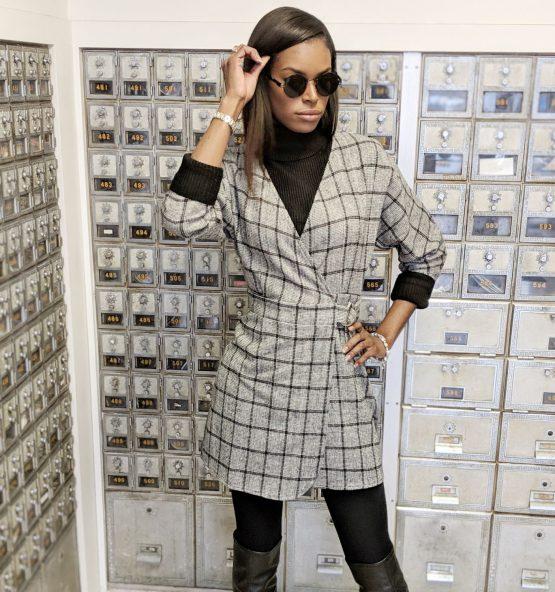 Executive Plaid Wrap Dress - The Standard Detroit